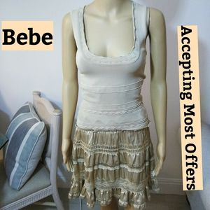 Bebe beige layered lace and knit Dress Sz Sm.